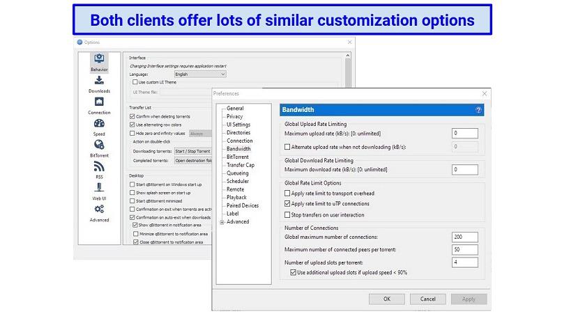 Screenshots of the settings menus for qBittorrent and uTorrent