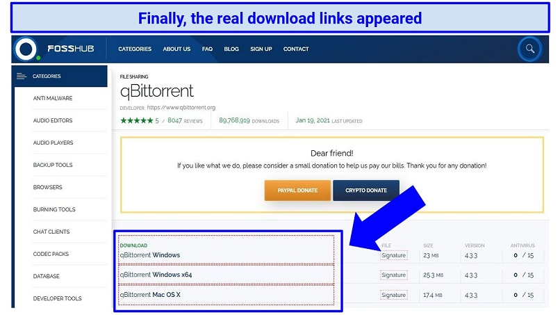 Screenshot showing another page of download links from qBittorrent