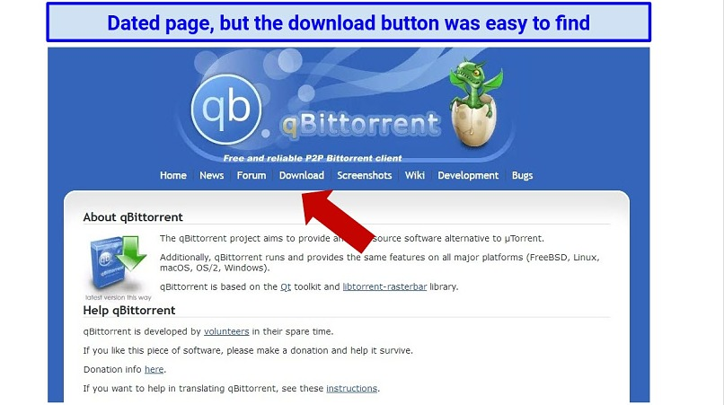 Screenshot showing the somewhat outdated appearance of qBittorent's homepage