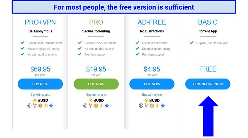 Screenshot showing uTorrent's free and paid subscription options