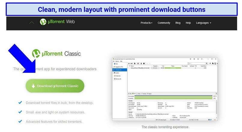 Screenshot showing the modern look of uTorrent's homepage