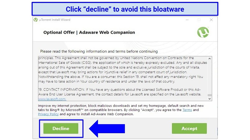 Screenshot showing Adaware Web Companion bloatware that uTorrent tries to include with installation