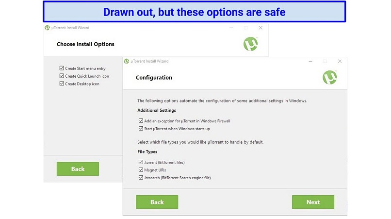 Screenshot showing the last two steps in the uTorrent installation process