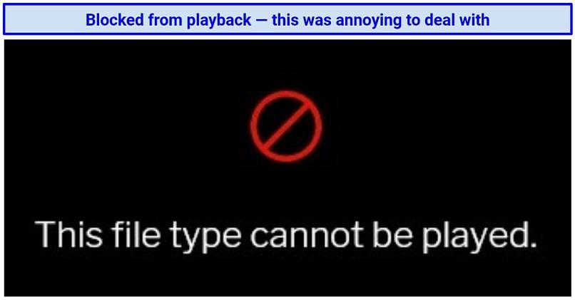 Screenshot showing uTorrent Web's playback error message