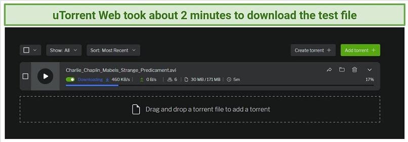 Screenshot showing the download progress of a torrent file on uTorrent Web
