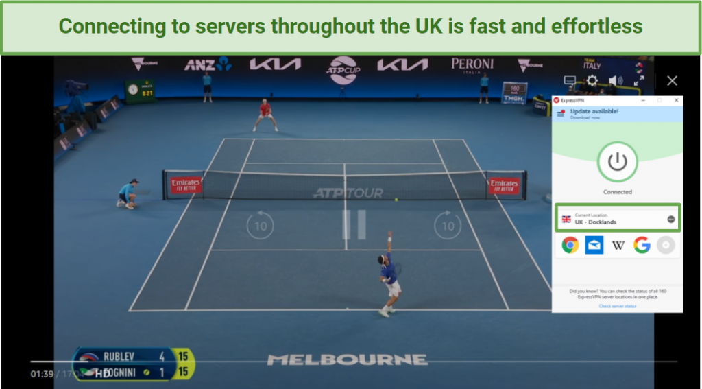 Image showing the ATP Cup being shown on Amazon Prime UK while ExpressVPN is connected to a server in the UK.