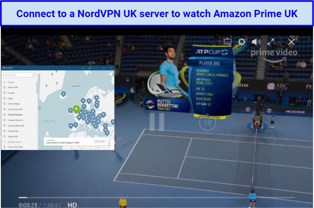 Screenshot showing how NordVPN will let you access Amazon Prime UK via its UK servers