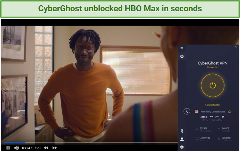 Screenshot showing HBO Max streaming Generaion after connecting to a CyberGhost server in the US