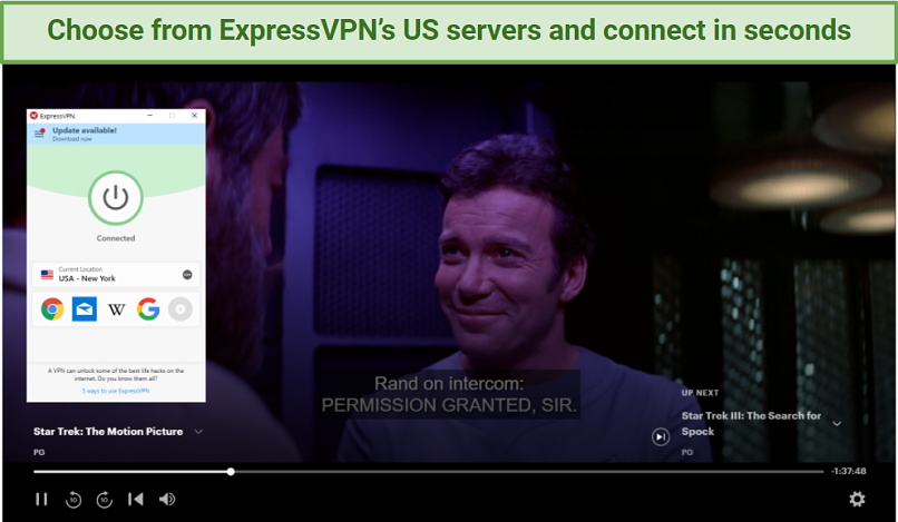Screenshots showing Star Trek: The Motion Picture playing while ExpressVPN is connected to its New York servers
