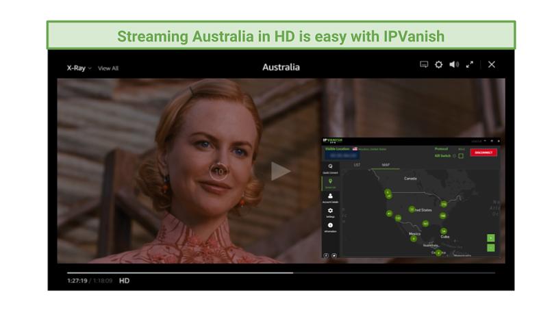 Graphic showing Australia streaming on Amazon Prime Video using IPVanish's US servers