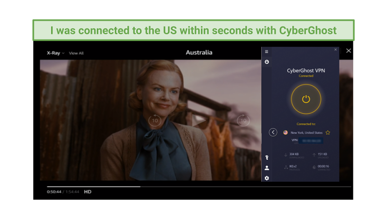 Graphic showing Australia streaming on Amazon Prime Video using CyberGhost's New York server
