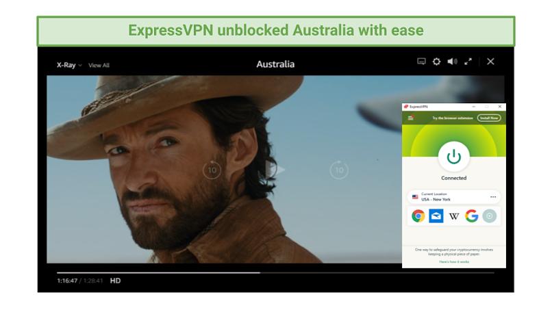 Graphic of Australia streaming on Amazon Prime Video using ExpressVPN's New York server