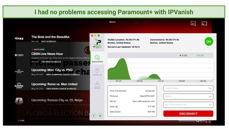 Screenshot of Paramount+ player streaming a live show with IPVanish