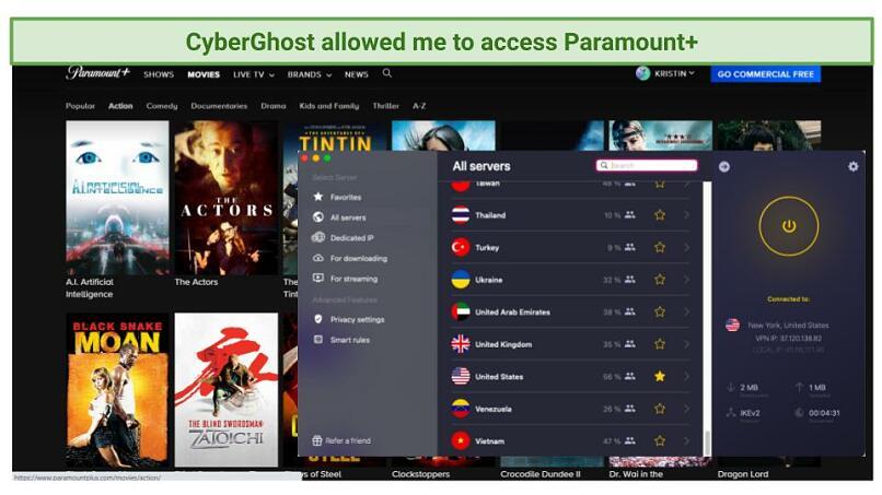 Screenshot of Paramount+