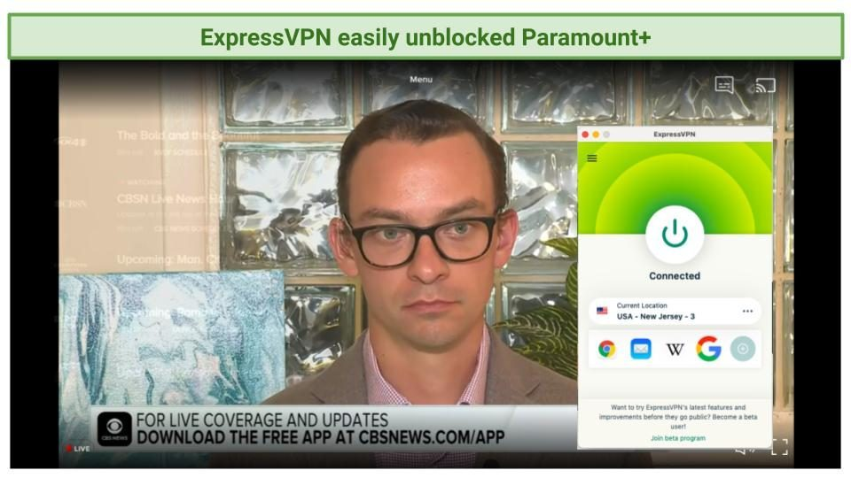 Screenshot of Paramount+ player streaming a live show with ExpressVPN