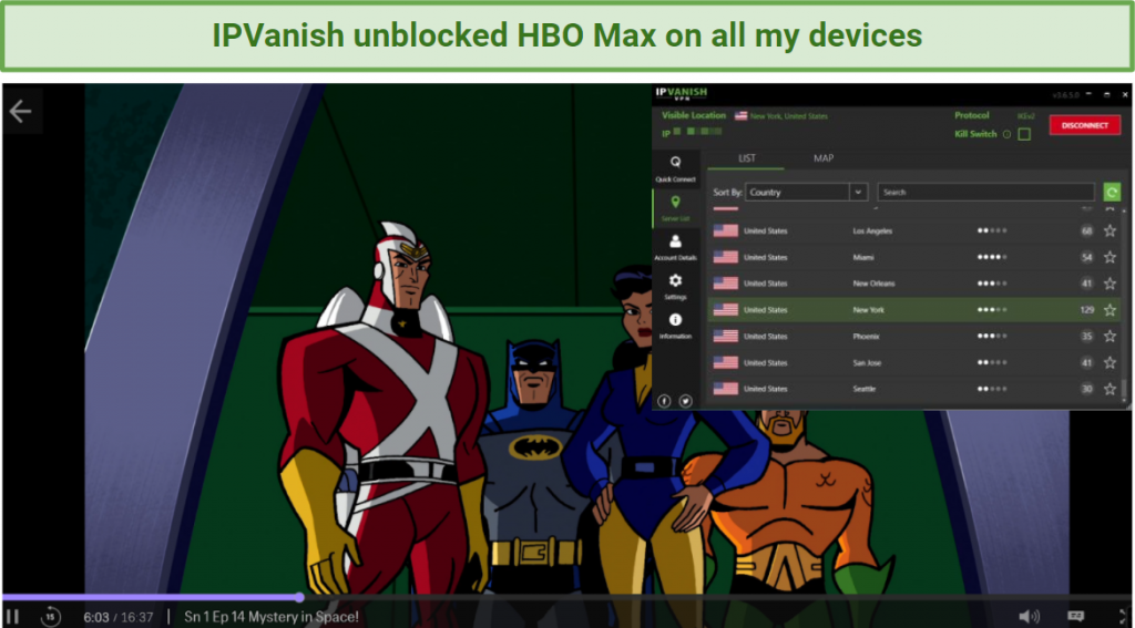 Screenshot showing HBO Max streaming Batman: The Brave and the Bold after connecting to an IPVanish server in the US