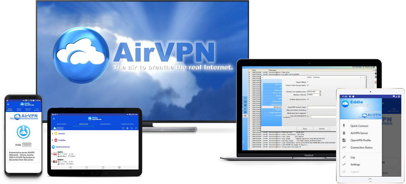Small assortment of technological devices compatible with AirVPN.