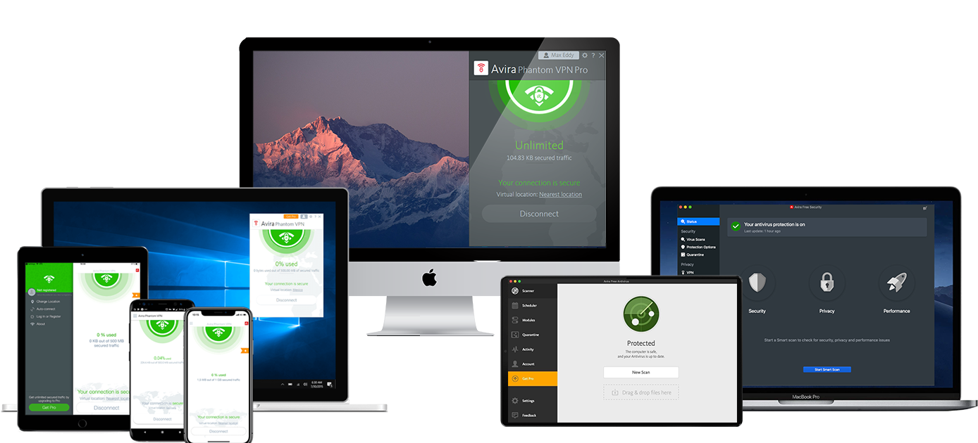 Small assortment of technological devices compatible with Avira Phantom VPN.