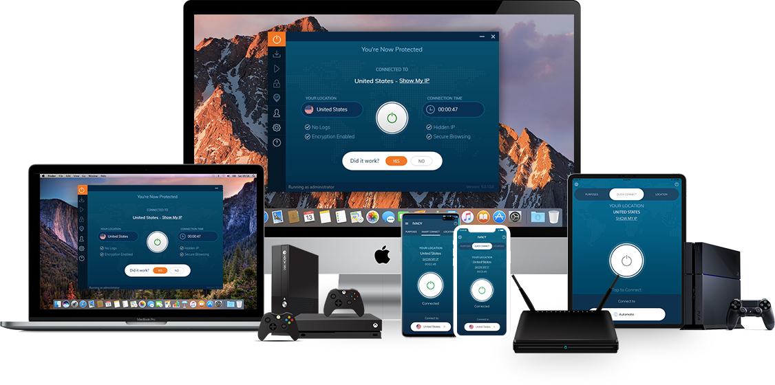 Small assortment of technological devices compatible with Ivacy VPN.