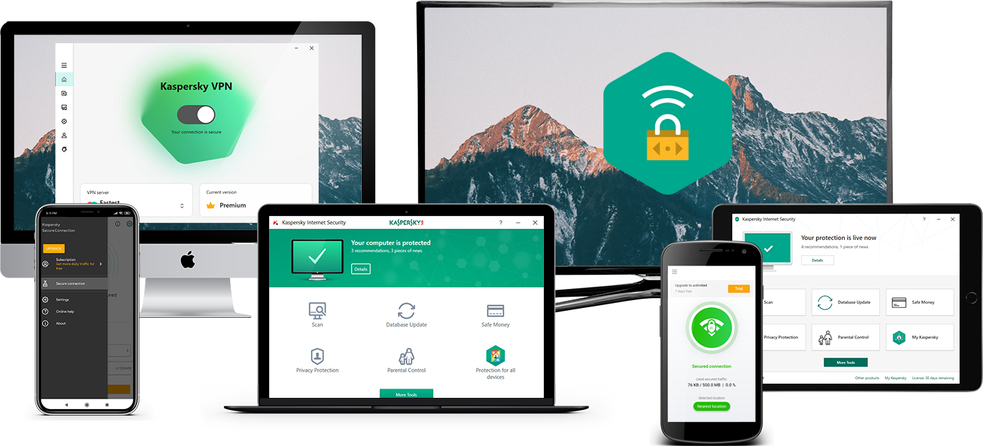 Small assortment of technological devices compatible with Kaspersky Secure Connection.