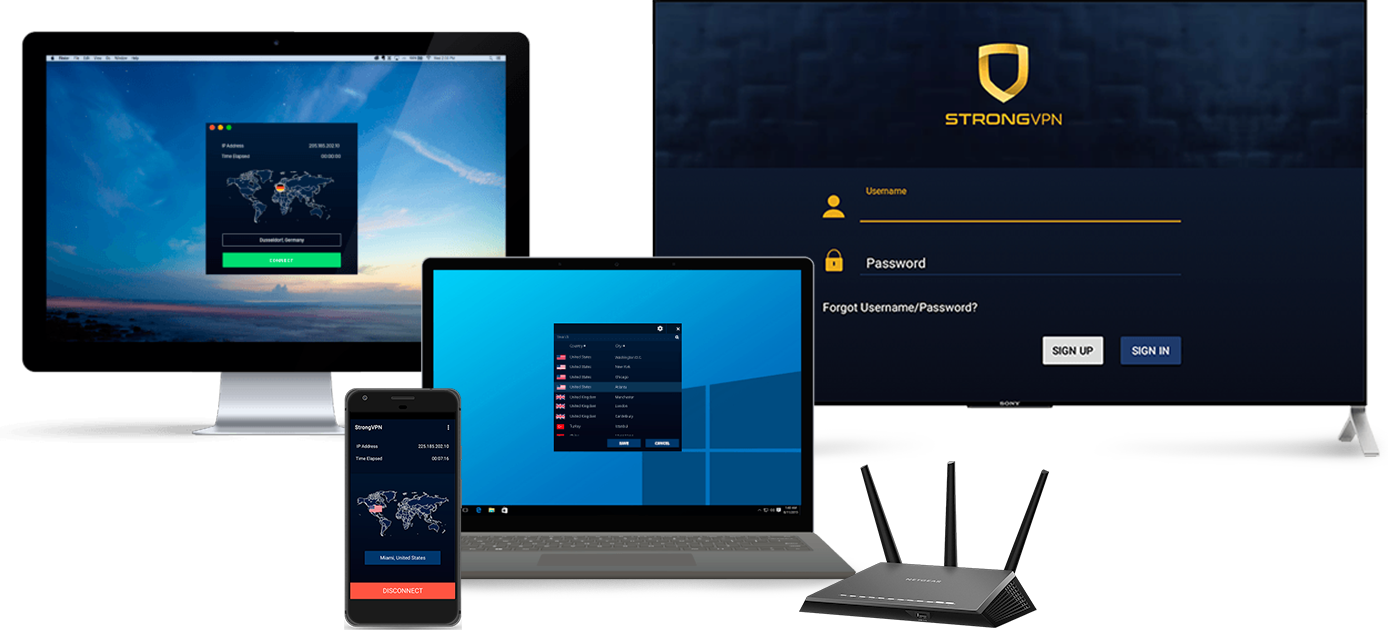 Small assortment of technological devices compatible with Strong VPN.