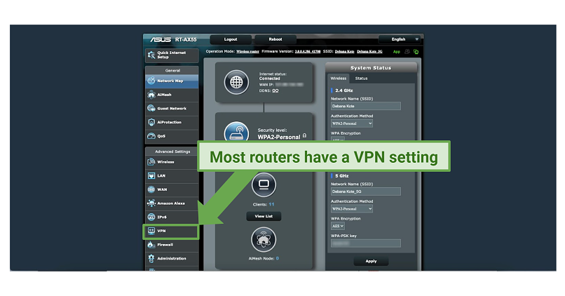 Screenshot of a router's interface highlighting the VPN setting on the Advanced Settings menu