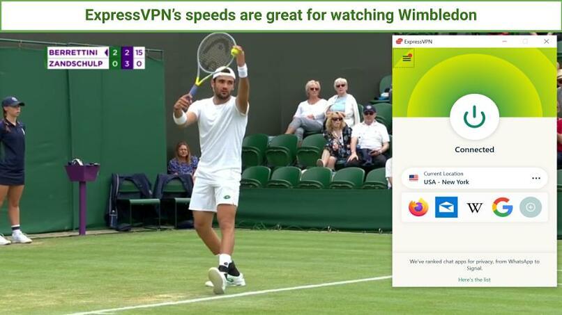 A screenshot of ExpressVPN being used to watch a Gentlemen's match during the Wimbledon