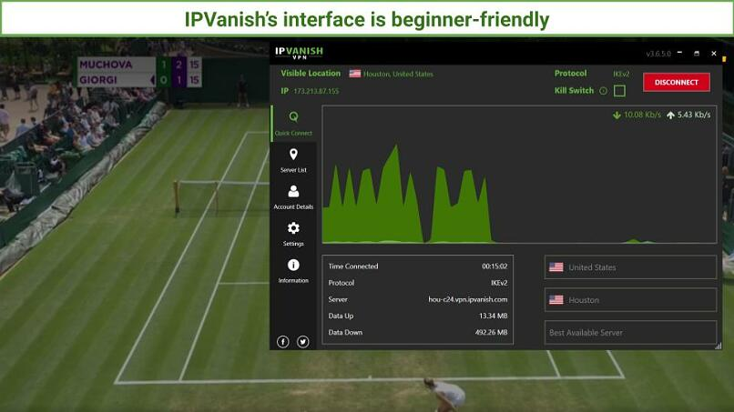 A screengrab of IPVanish connected to a US server to stream a Ladies matching the Wimbledon tournament.