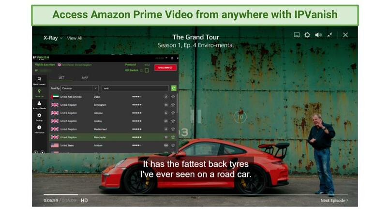 screenshot showing The Grand Tour playing on Amazon Prime Video while connected to IPVanish's UK servers
