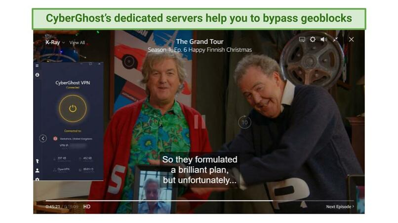 screenshot showing The Grand Tour playing on Amazon Prime Video while connected to CyberGhost's UK servers