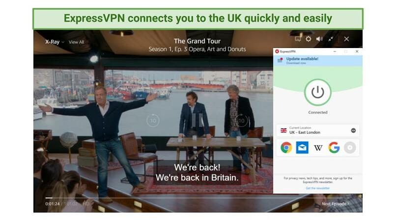 screenshot showing The Grand Tour playing on Amazon Prime Video while connected to ExpressVPN's UK servers