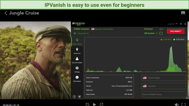 A screenshot using a US server with IPVanish to stream Jungle Cruise.