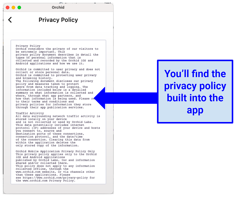Image of privacy policy within Orchid VPN app