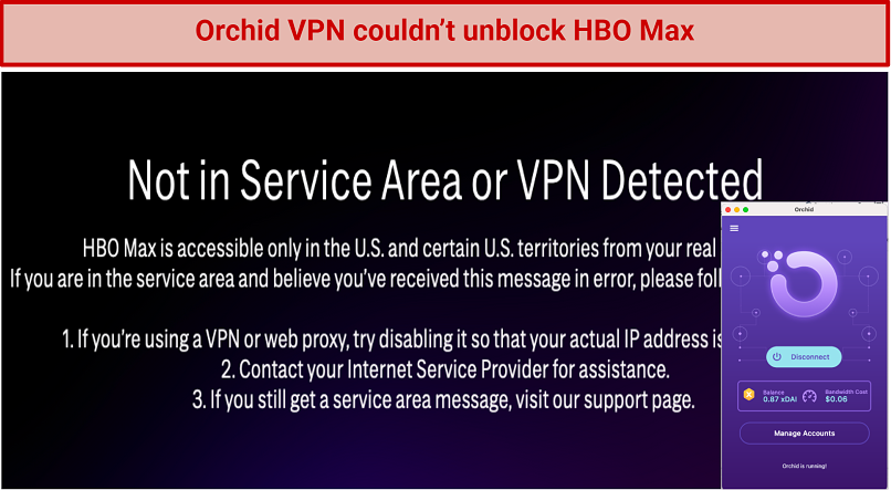 Image showing HBO Max blocked after connecting to Orchid VPN's US location