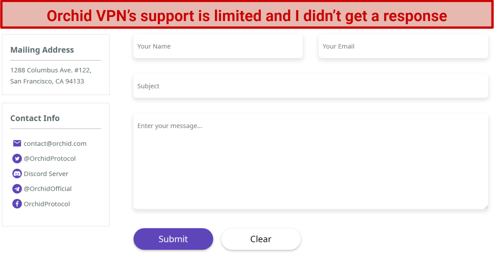 Image showing Orchid VPN support web form
