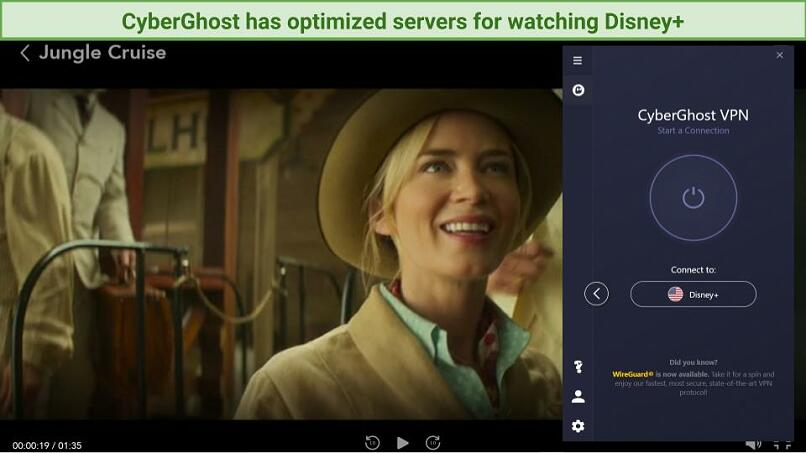 A screenshot using a US server with CyberGhost to stream Jungle Cruise.