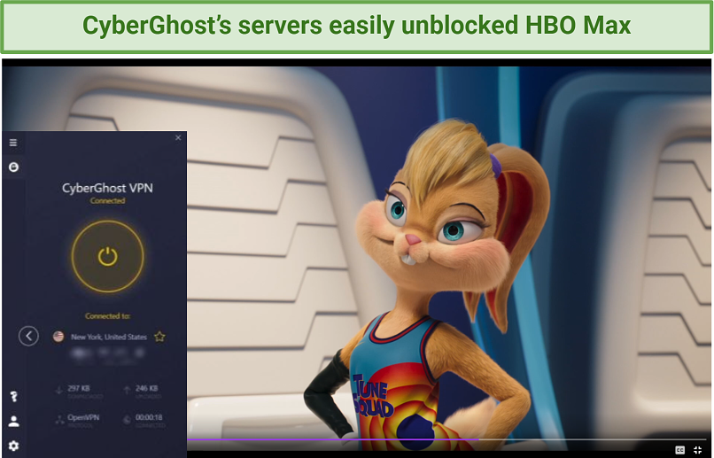 Screenshot showing Space Jam: A New Legacy streaming on HBO Max after connecting to a US CyberGhost server