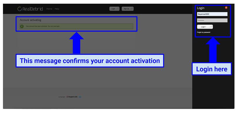 Sign Up confirmation message on Real Debrid