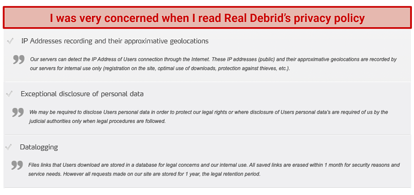 Graphic showing Real Debrid Privacy Policy