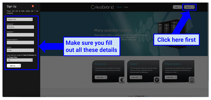 Graphic showing Real Debrid Sign Up process.