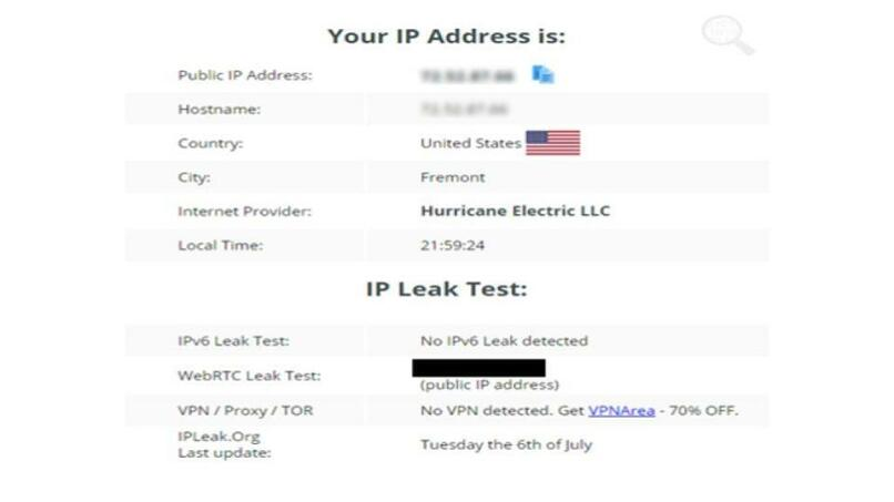 A screenshot of the leak test results while connected to Ultrasurf