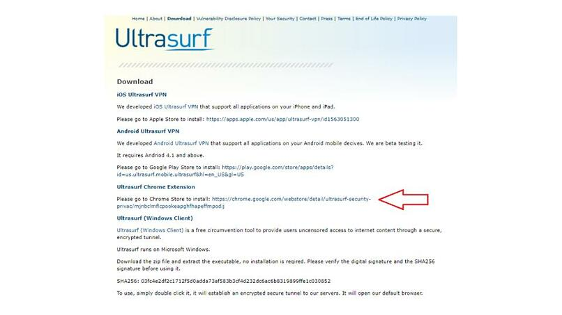 A screenshot of the download page on Ultrasurf's website pointing to the Chrome Extension