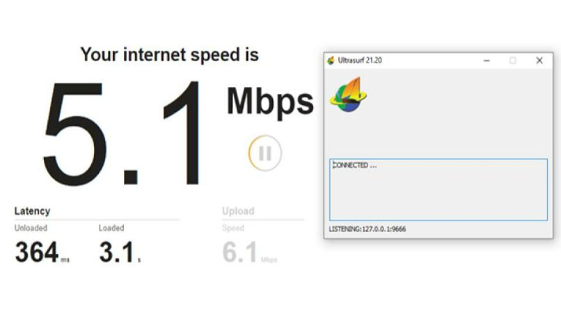 A screenshot of the speed test results while connected to Ultrasurf