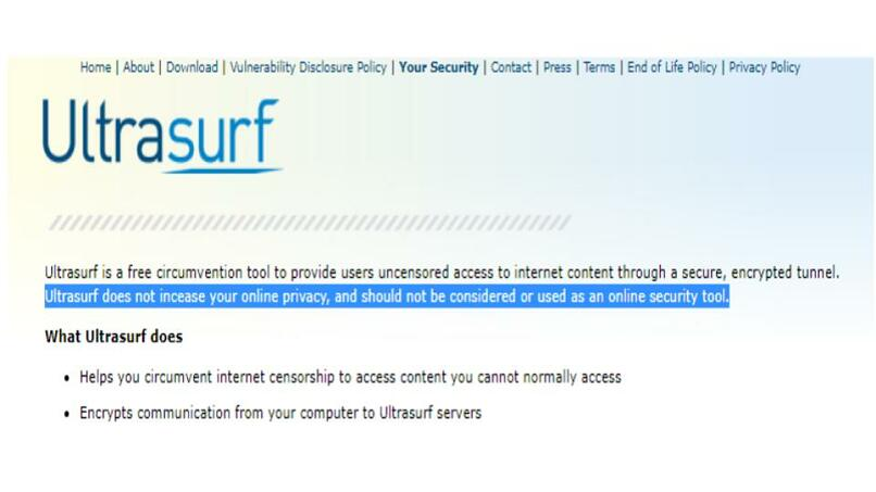 A screenshot of the security page on Ultrasurf's website