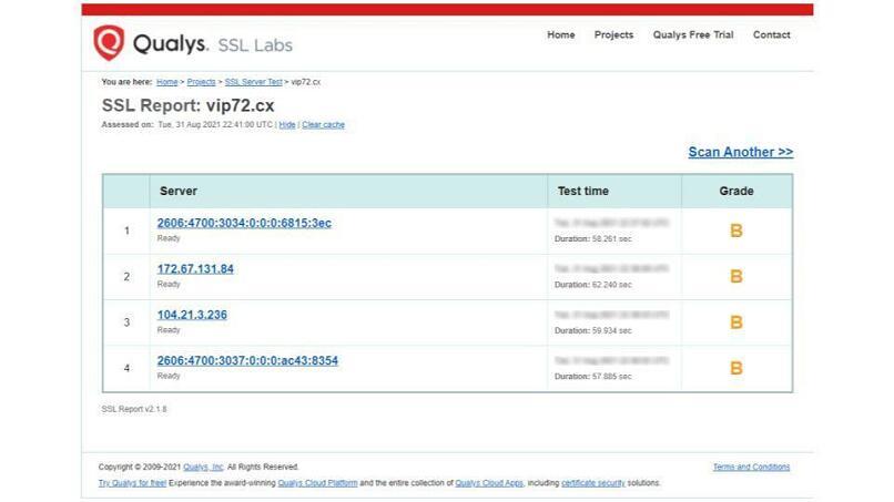 A screenshot of VIP72's SSL test results