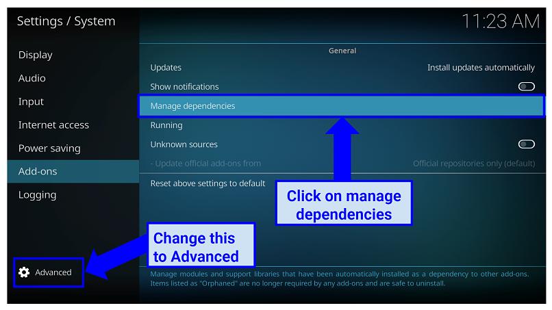 Graphic showing Advanced settings on Kodi