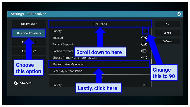 Graphic showing URLResolver settings