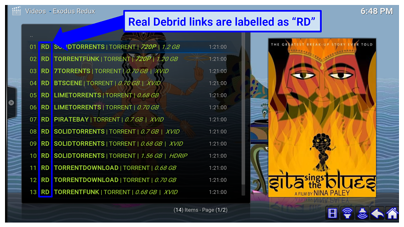 Graphic showing Real Debrid links