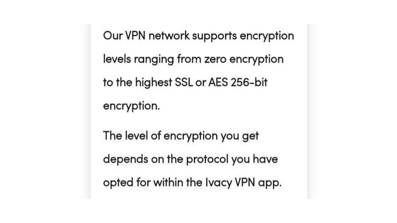 A screenshot of Ivacy's zero encryption option.