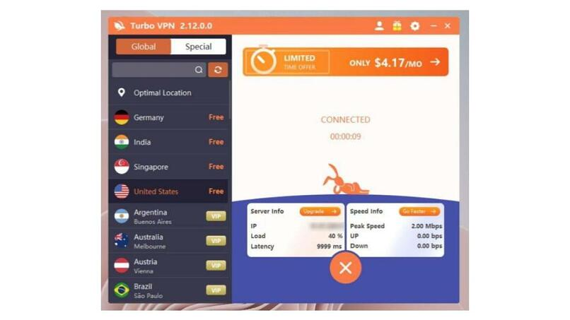 A screenshot of the Turbo VPN app